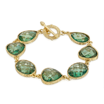 1928 Jewelry Gold-Tone Light Aqua Faceted Toggle Bracelet