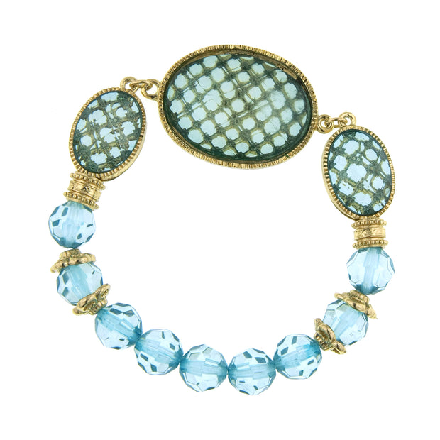 Gold-Tone Lt. Aqua Oval Faceted Stretch Bracelet