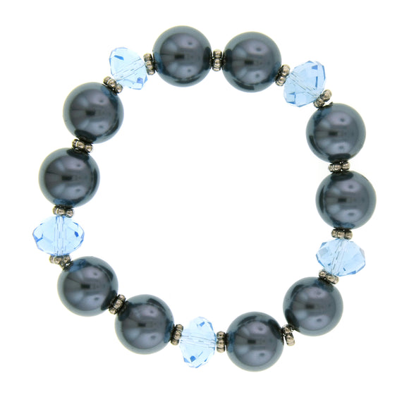 Signature Silver-Tone Light Blue Bead and Simulated Pearl Stretch Bracelet
