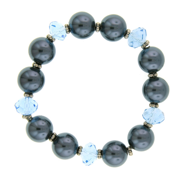 Silver Tone Light Blue Bead And Grey Costume Pearl Stretch Bracelet