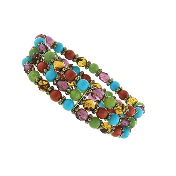 Brass Multi-Color Beaded Stretch Bracelet