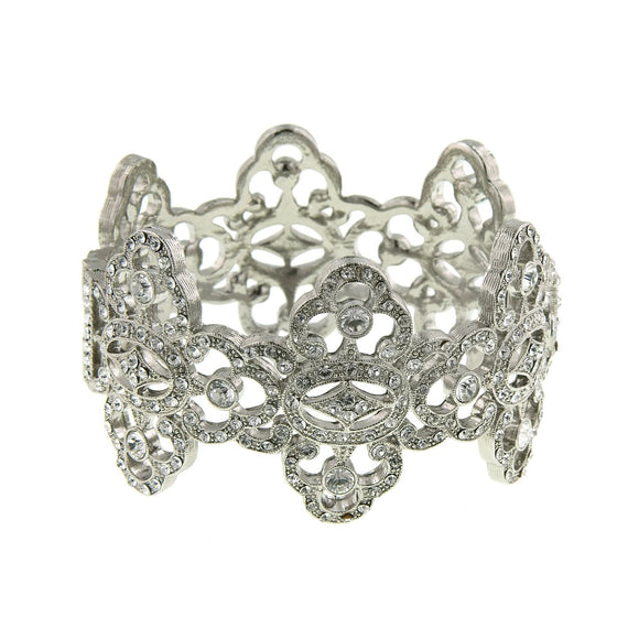 Fashion Jewelry - Antiquities Couture Silver-Tone Crystal Pave Cuff Bracelet