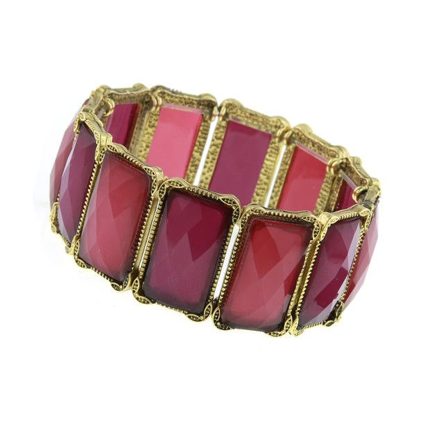 Gold Tone Amethyst Faceted Rectangle Stretch Bracelet