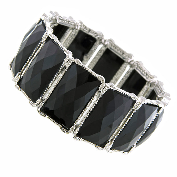 Silver-Tone Jet Rectangle Stretch Bracelet