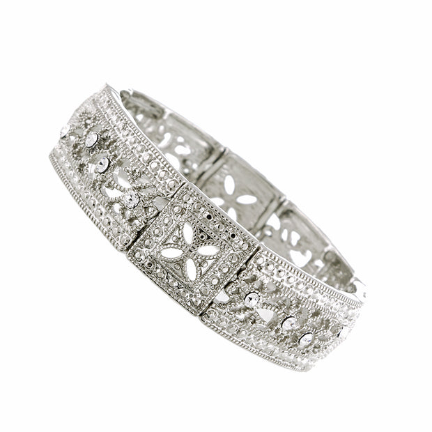 Silver-Tone Crystal Square Filigree Stretch Bracelet