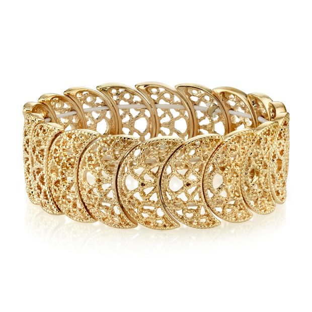 Gold Tone Half Circle Filigree Stretch Bracelet