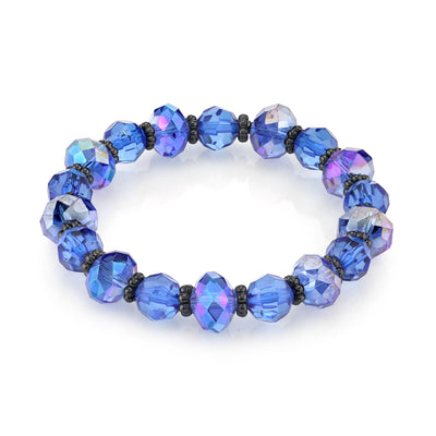 Black-Tone Sapphire Blue Color Beaded Rich Cut Stretch Bracelet