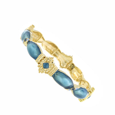 Gold Tone Blue Stretch Armband