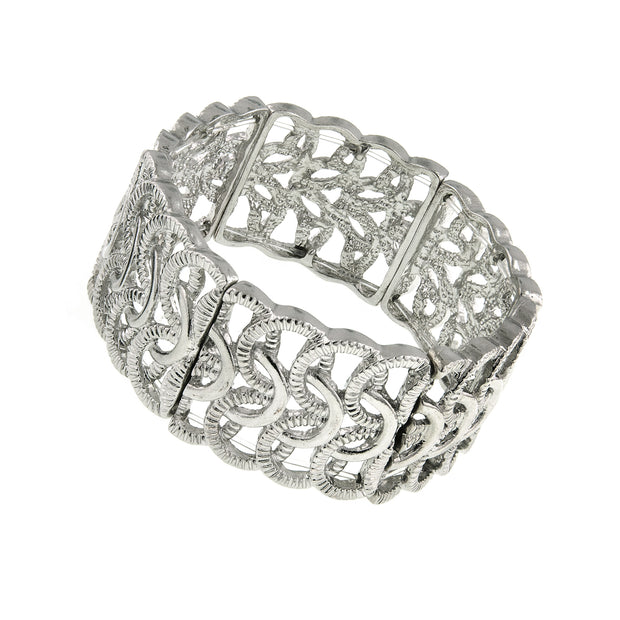 Silver-Tone Woven Loop Stretch Bracelet