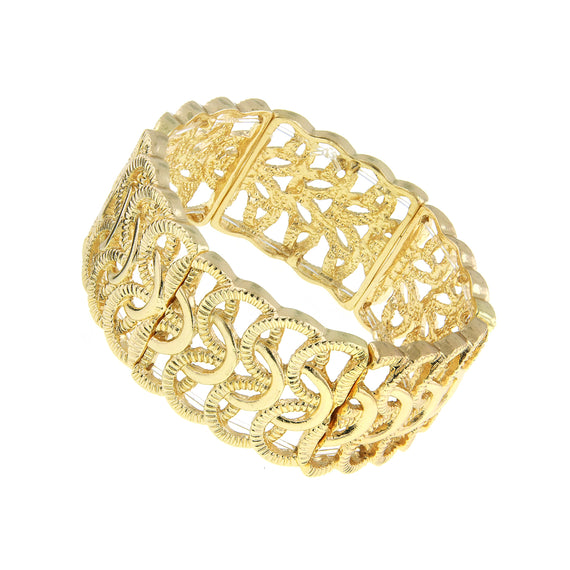 Fashion Jewelry - Gold-Tone Woven Loop Stretch Bracelet