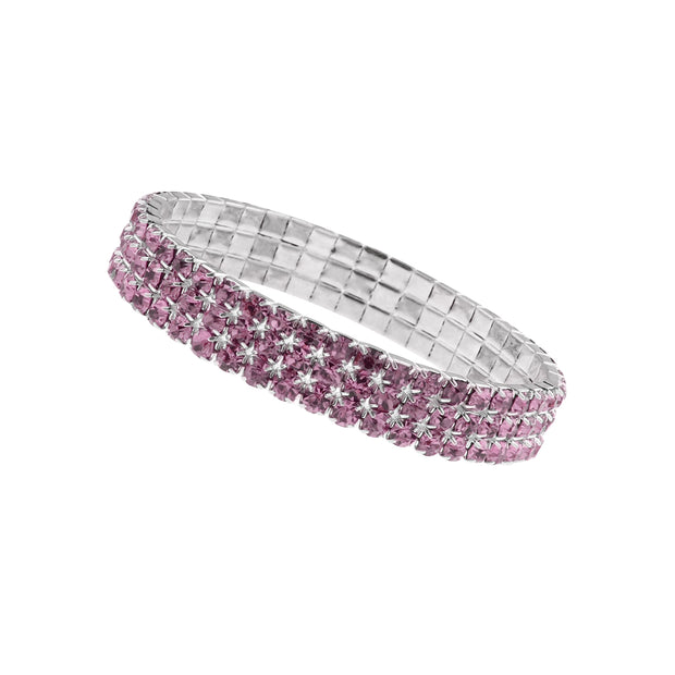 Silberfarbenes rosa 3-reihiges Strass-Stretch-Armband