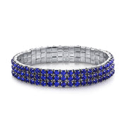 Silver-Tone Blue 3-Row Rhinestone Stretch Bracelet