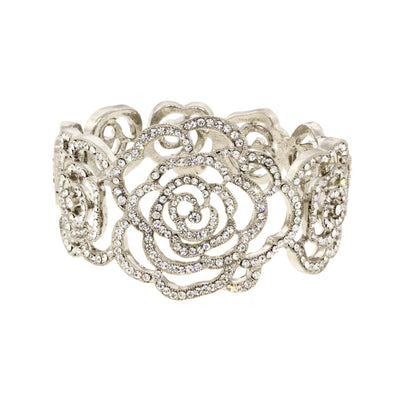 Snowdrop Silver Tone Crystal Rose Hinged Cuff