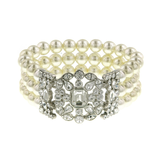 Silver-Tone Crystal Three Row Peal Stretch Bracelet