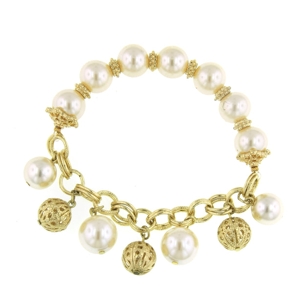 Gold-Tone Costume Pearl And Filigree Ball Drop Stretch Bracelet