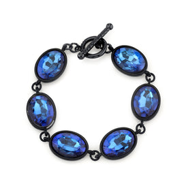 Black-Tone Sapphire Blue Color Faceted Oval Toggle Bracelet