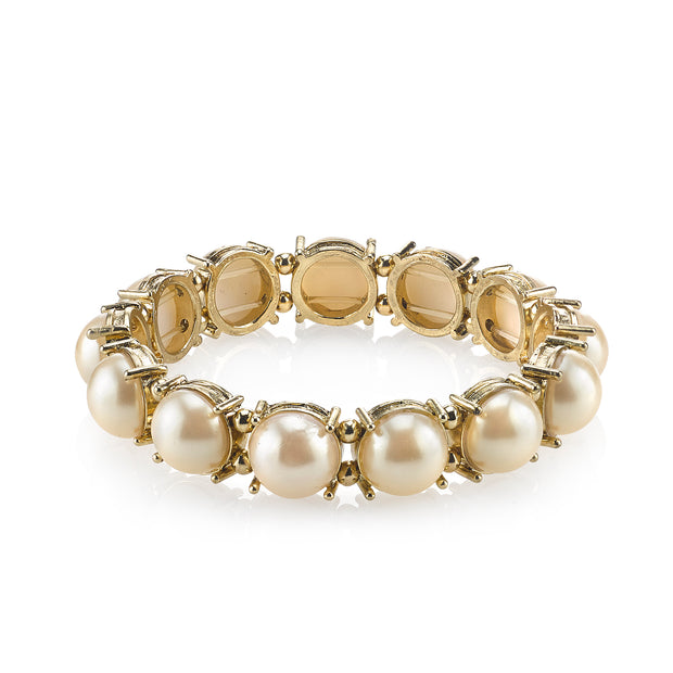 Gold-Tone  Costume Pearl Stretch Bracelet