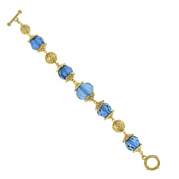 Gold Tone Blue Beaded Toggle Bracelet