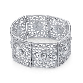 1928 Jewelry: 1928 Jewelry - Silver-Tone Filigree Crystal Studded Flower Stretch Bracelet