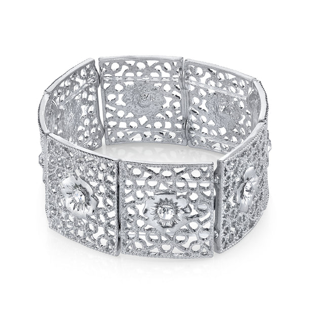 Silver Square Filigree Flower Crystal Stretch Bracelet