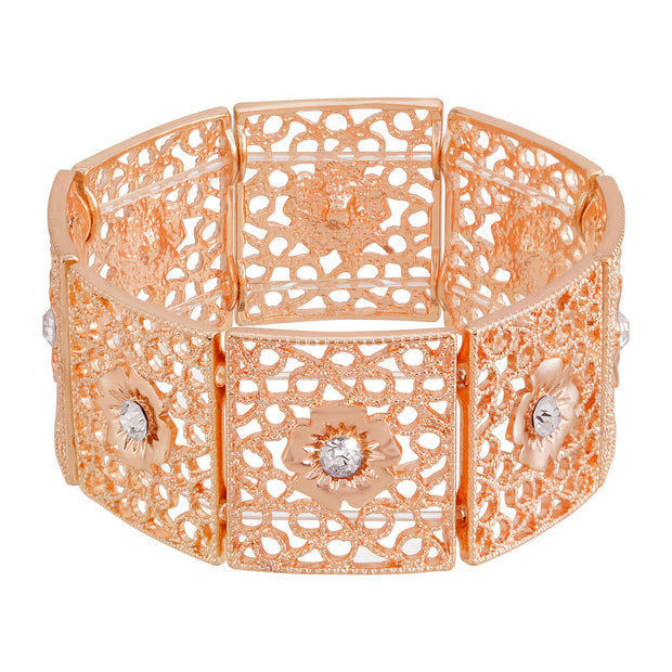 Copper Square Filigree Flower Crystal Stretch Bracelet