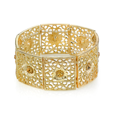 Gold Square Filigree Flower Crystal Stretch Bracelet
