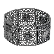 Black Square Filigree Flower Crystal Stretch Bracelet