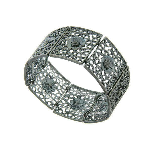 Jet Filigree Stretch Bracelet