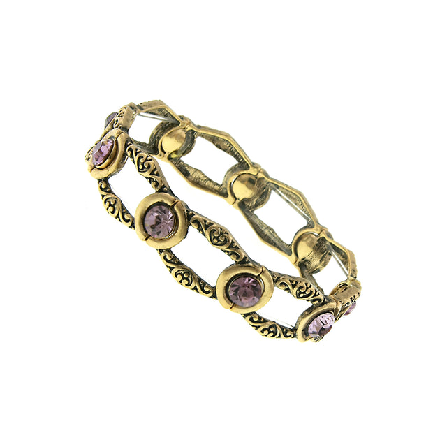Gold-Tone Amethyst Purple Color Chanel Stretch Bracelet