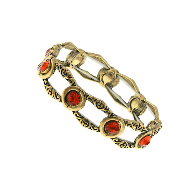 Gold Tone Orange Channel Stretch Bracelet