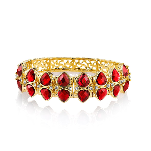 Gold Tone Siam Red Stretch Bracelet