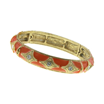 Gold Tone Orange W/ Crystal Enamel Stretch Bracelet