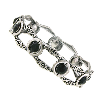 Silver Tone Jet Black Stretch Bracelet