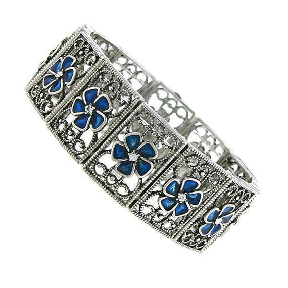 Silver-Tone Montana Blue Flower Filigree Stretch Bracelet