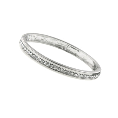 Silver Tone Crystal Bangle Bracelet