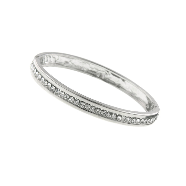 Silver-Tone Crystal Bangle Bracelet