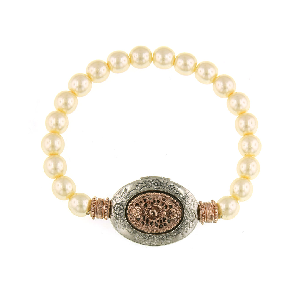 Signature Rose Gold-Tone and Simulated Pearl Locket Bracelet