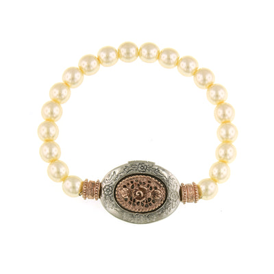 Silver Tone And Rose Gold Tone Costume Pearl Filigree Etched Locket Stretch Bracelet