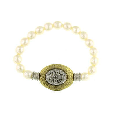 Gold Tone And Silver Tone Costume Pearl Filigree Etched Locket Stretch Bracelet