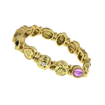Gold Tone Charm Stretch Bracelet
