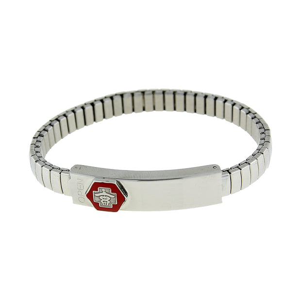 Silver Tone Stainless Steel Small Medical Alert Id Stretch Bracelet