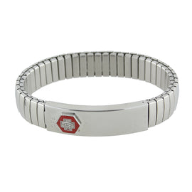 Silver-Tone Stainless Steel Large Medical Alert ID Stretch Bracelet
