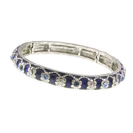 Silver-Tone Blue Transparent Enamel Stretch Bracelet