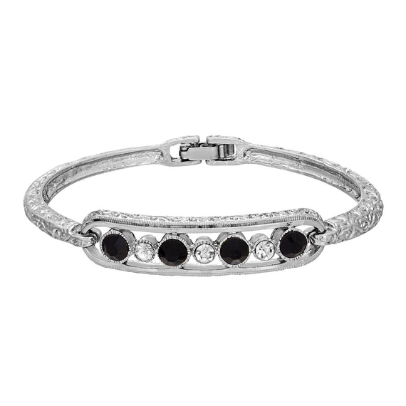 Fashion Jewelry - Channel Set Jet and Crystal Silver-Tone  Bracelet