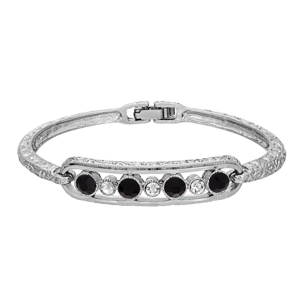 Silver Tone 1928 Jewelry Slim Textured Round Crystal Bangle Bracelet