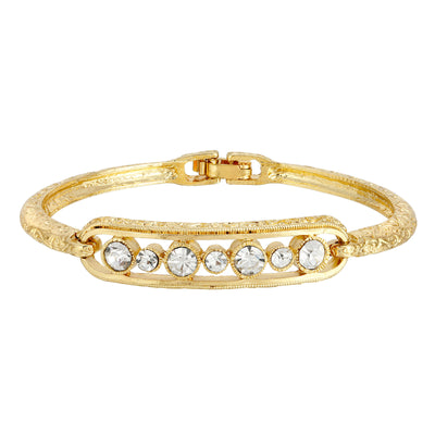 Gold Tone Crystal Bangle Bracelet