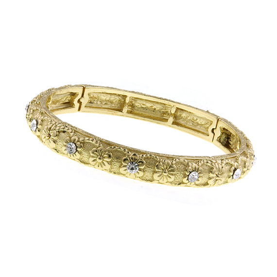 Fashion Jewelry - Floral Etched Gold-Tone Bangle Bracelet