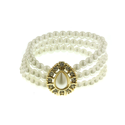 Gold Tone  Costume Pearl With Crystal 3 Row Stretch Bracelet