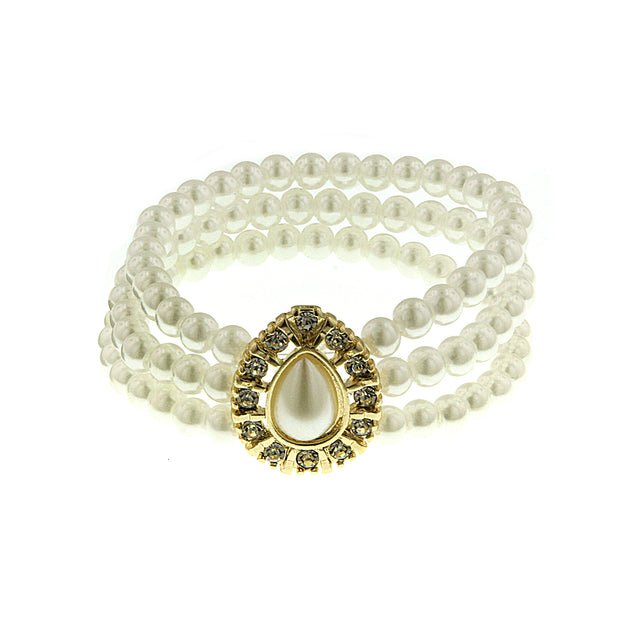 Gold-Tone  Costume Pearl With Crystal 3-Row Stretch Bracelet