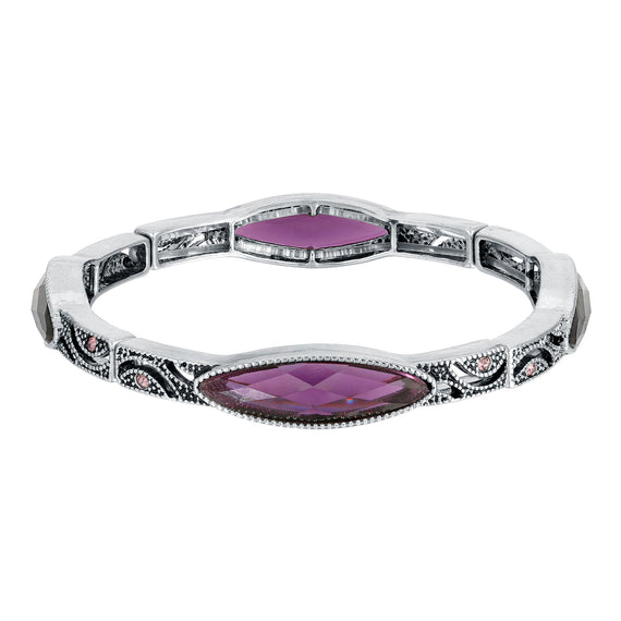 Silver-Tone Purple Stone and Light Purple Crystal Slim Navette Stretch Bracelet